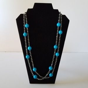 Hematite Crystal & Blue Bead Necklace, Very Long!